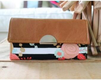 Accordion wallet - floral wallet - summer wallet - phone wallet - accordion wallet - large wallet