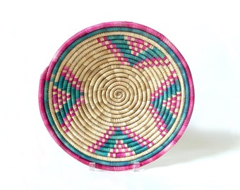Vintage Small Round Coiled Basket ... Pink, Green, Boho Chic Woven Grass Bowl, Raffia, Sweetgrass Centerpiece, African Art, Wall Hanging