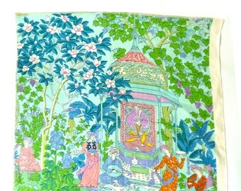 Vintage J.H. Thorp Designer Printed Linen ... Persian Garden, Pastel Chinoiserie Textile Fabric, Pagoda, Landscape, Turquoise, Green, Blue
