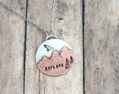 Explore Mountain Necklace - Hiker Jewelry - Mountain Girl - Outdoor Woman - Mountain Peaks - Nature Jewelry - Mixed Metal
