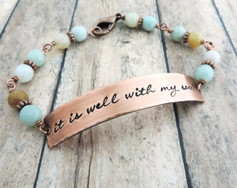 It Is Well With My Soul Bracelet - Stamped Copper and Amazonite Beaded Bracelet - Inspirational Christian Jewelry