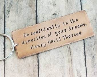 Custom Thoreau Quote Key Ring with Compass