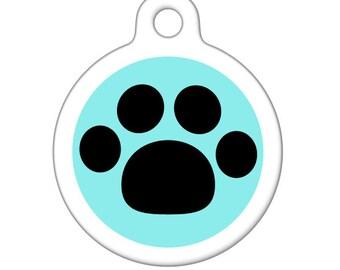 Pet Tag - Black Paw Pet Tag, Dog Tag, Cat Tag