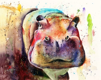 HIPPO Watercolor Art Print by Dean Crouser