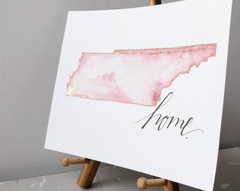 Home 8x10 Watercolor State Map Choose Your Own State and City