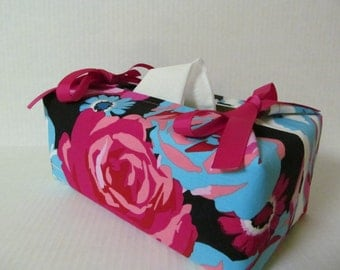 Tissue Box Cover/Big Flower x Hot Pink Ribbon