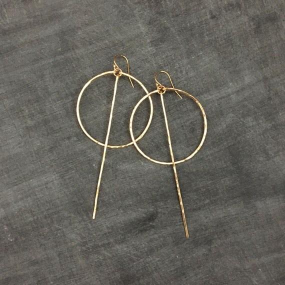 Long Bar Circle Earrings