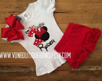 Red mouse bow Personalized Boutique Number Birthday two 2nd flutter Girls Applique Short Long Sleeve Shirt Tank icing top only