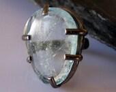 Aquamarine Ring Aquamarine Statement Ring Aquamarine Black Rhodium Prong Set Rough Gemstone Ring Designer Ring OOAK Ring Unique Ring Slice