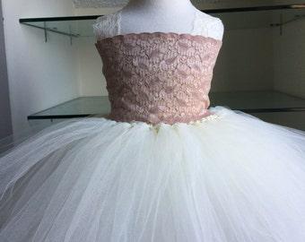 Ivory Beige Lace Tutu Dress- Flower Girl Dress- Vintage Tutu Dress, Lace Tutu Dress