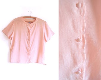 1980s Pastel Pink Silk Scalloped Button-Up Blouse