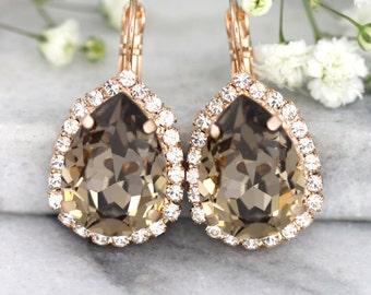 Brown Earrings, Mocha Earrings, Bridal Drop Earrings, Swarovski Greige Earrings, Chocolate Drop Crystal Earrings, Bridesmaids Mocha Earrings