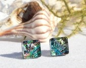 "Small Dichroic Glass Stud Earrings, Fused Glass Jewelry, Sterling Silver, Square - Color Burst, Multi-color,  <3/8"" or 9mm (Item #30946-E)"