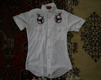 Men's Western Shirt with Embroidered Bull Size Small