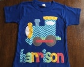 Train Shirt - Boys Birthday Shirt -Train Applique-  You Choose Shirt Color, Sleeve Length or Personalize (Number or Initial)