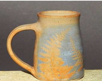 Blue Fern Mug, 20oz. Very Large Coffee/Tea Handmade stoneware, Microwave friendly