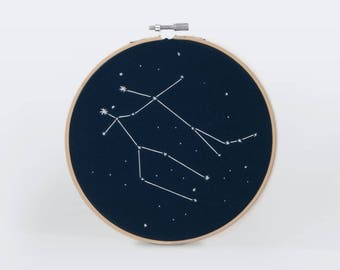Gemini Constellation Embroidery Hoop Art - Zodiac Star Sign, Astrology Wall Hanging, Hand Embroidered Gemini