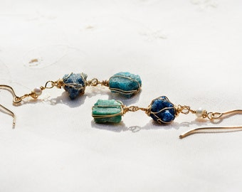 Long Opaque Roman Glass Gold Filled Earrings. Gold Filled Jewelry. Roman Glass Jewelry. Blue Green+ Pearls. Made in Israel. Free Shipping