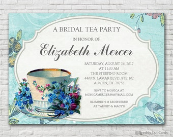 Vintage Bridal Tea Invitation - Printable or Printed (w/ FREE Envelopes)