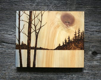 Golden Skies - Wood burning Art - Tree Landscape