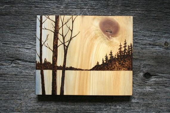 Items Similar To Golden Skies Wood Burning Art Tree