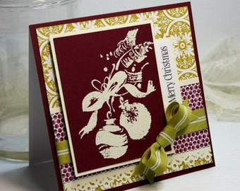 """Christmas Card - Handmade Greeting Card - 5.25 x 5.25"""" - 3D Cards Merry Christmas Embossed Ornament  Holiday Card Stationery - OOAK"""