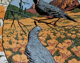 "Vintage 1960s R. Batchelder Linen Kitchen Towel, 16 1/2"" x 27"" Blue Birds Rust Orange Flowers Never Used"