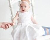 SALE White flower girl dress - White christening linen girl dress - Beach weddings Infant dress sizes 0.5-5 years