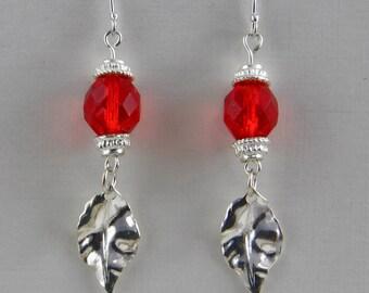 Handmade Oval Red  Czech Glass Bead On Silver Leaf Earrings  Czech Glass Beads On Silver Hooks Oscarcrow