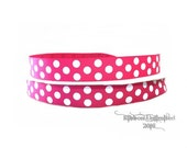 10 Yds WHOLESALE 7/8 Inch Shocking Pink Jumbo Polka Dots grosgrain ribbon LOW SHIPPING Cost