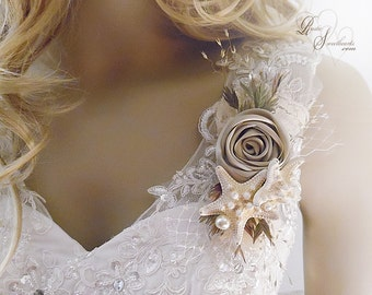 Ships in 5 days ~~~ Starfish Beach Wedding Corsage, Wrist Corsage or Pin On Corsage.