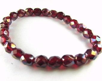 Marsala Berry Red Decora Czech Glass 6mm Fire Polished Jewelry Beads (25)