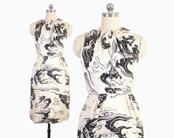Vintage 60s SILK DRESS / 1960s Black & White Graphic Abstract Print Tailored Petite Dress XS