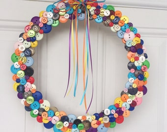 Button wreath, Spring wreath, spring door wreath, Door wreath, outdoor door wreath, door decoration, door hanging, wreath, front door wreath