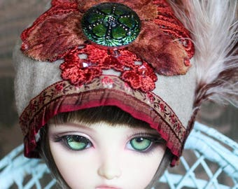 Taupe Cloche Flapper Style Hat With Feathers and Gorgeous Czech Button For Ball Jointed Dolls and Blythe