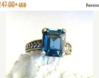 MothersDaySale Emerald Cut London Blue Topaz patterned sterling silver band ring custom size 4 5 6 7 8 9 10 handmade fine jewelry