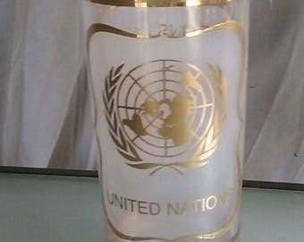 United Nations Souvenir Drinking Glass, 22K Gold by Astar, Vintage Drinkware, Travel Souvenir, Frosted Gold Trimmed Glass, Tumbler