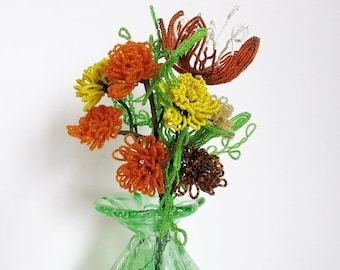 French Beaded Flower Bouquet, Vintage Marigolds & Orchid