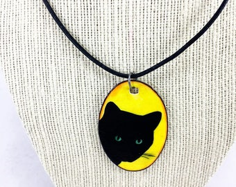 Black kitty cat necklace