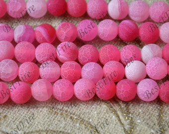 8 mm Pink Matte Agate round nugget stone Beads,agate stone beads loose strands,agate beads finding,Nugget Gemstone Bead loose strands