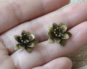 6 pcs 15 mm Antique Bronze Jewelry Brass Decorations Filigree Jewelry Finding,Connector Finding,Flower Findings