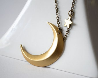 Gold Crescent Moon Necklace With Star Charm Accent, Moon Phase Jewelry