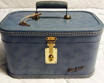 Vintage 1950s Blue TRAIN Case with Key by Starline Travel Makeup Cosmetic Luggage Carry On Storage Case