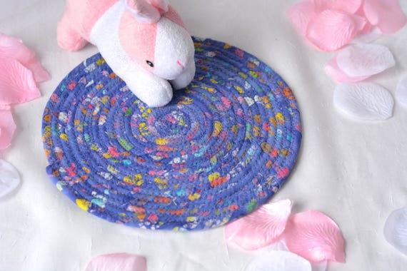 """Rustic Lavender Trivet, 8"""" Handmade Lavender Hot Pad, Desk Coaster, Violet Potholder, Violet Candle Holder Quilted Mat, 8"""" Mouse Pad"""