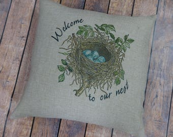 Pillow Cover, Welcome Pillow, Wedding Gift, Our Nest Pillow,  Couples Pillow, Bridal Shower Gift, Housewarming Gift, FREE SHIPPING