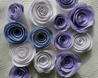 set of 13 itty bitty tiny spiral paper roses white and light purple lavender scrapbook page embellishments  wedding decorations