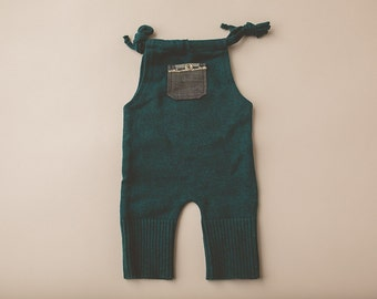 Dark Teal and Chambray- Newborn Photography Overall Set