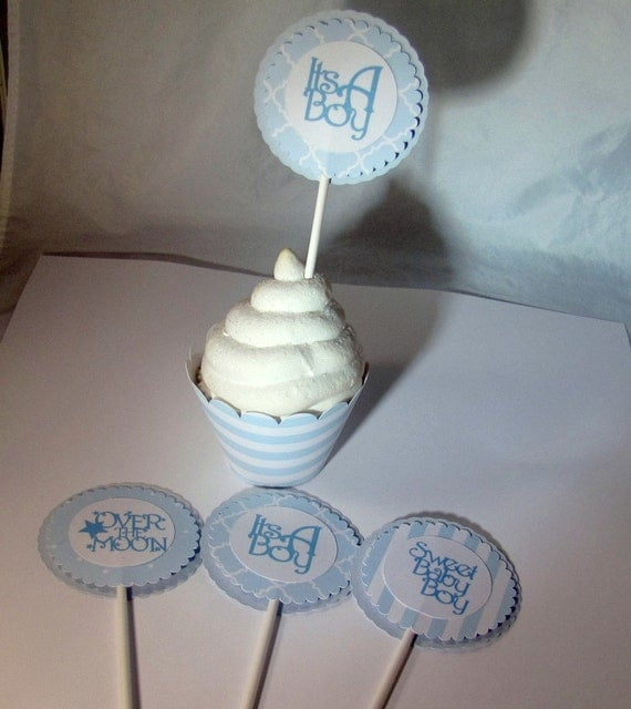 Cupcake Toppers, Baby Blue and White Cupcake Topper, Baby Shower Cupcake Toppers, Blue Birthday Cupcake Topper
