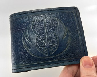 Hand Tooled Leather Jedi Wallet - Deep Blue