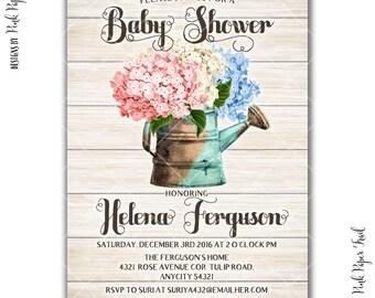 Rustic Garden Party Baby Shower Invitation, Garden Tea Party Spring Summer Baby Shower Printable Invitation